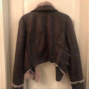 Jennifer Lopez Jackets & Coats - Faux suede/faux fur Moto Jacket